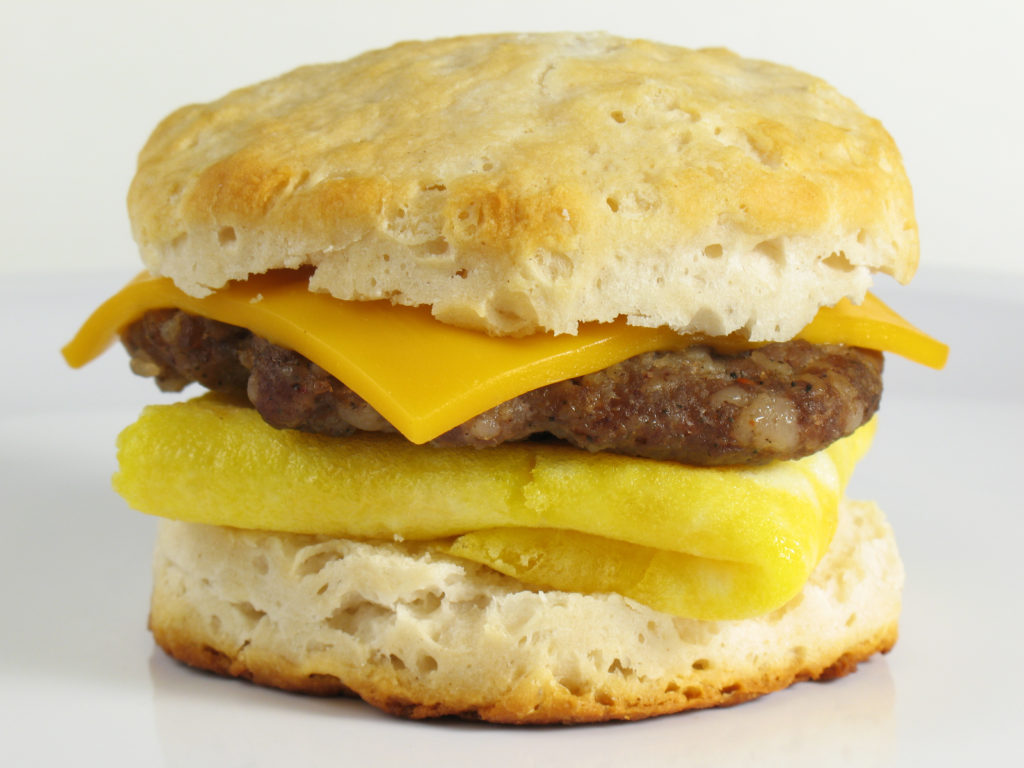 sausage egg cheese biscuit at cafe bistro